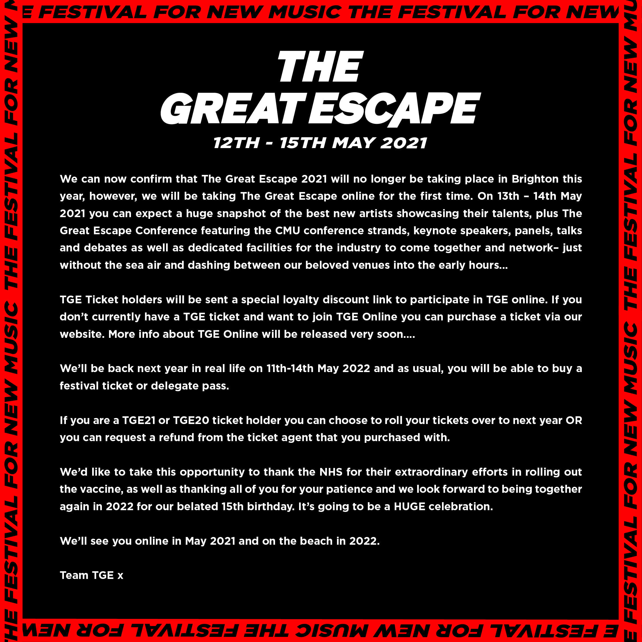 The Great Escape Festival 2021